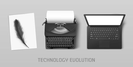 Technology evolution from ancient feather to vintage typewriter and modern laptop. Vector concept illustration of progress in writing literature from paper to computer with keyboard and screen Ilustracja