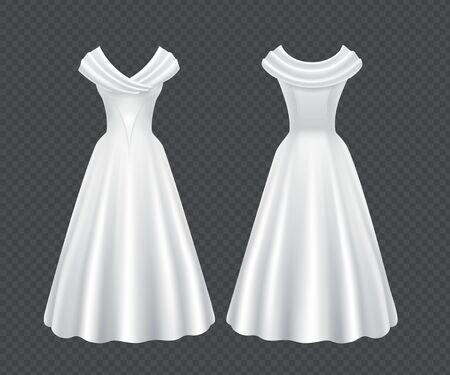 Vestido de mujer de novia blanco aislado sobre fondo transparente. Maqueta realista de vector de elegante vestido de noche femenino retro con falda larga y mangas cortas en la vista frontal y posterior