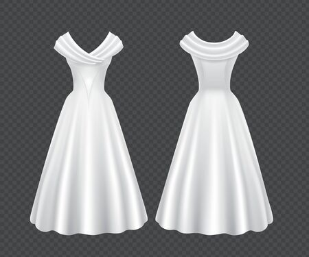 White wedding woman dress isolated on transparent background. Vector realistic mock up of elegant retro female evening gown with long skirt and short sleeves in front and back view