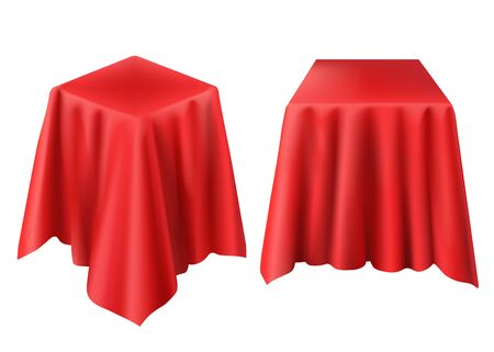 Box covered with red cloth. Vector realistic template of cube hidden under silk veil or curtain for presentation, opening surprise, gift isolated on white background Illustration