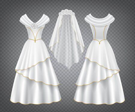 Vestido de novia de mujer blanco con velo de tul decorado con flores y pespunte dorado. Vector elegante vestido de seda nupcial con falda larga en la vista frontal y trasera aislada sobre fondo transparente
