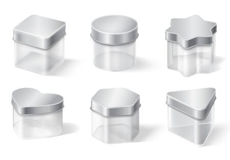 Transparent glass jar with metal lid isolated on white background. Vector realistic mockup of empty clear plastic boxes for jam, tea, coffee or cream. Set of different shapes containers with steel cap