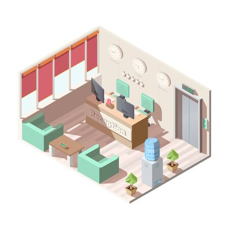Isometric hotel reception hall interior, company office with armchairs and coffee table, water cooler, computer monitors on receptionist desk different time zones clocks on wall 3d vector illustration