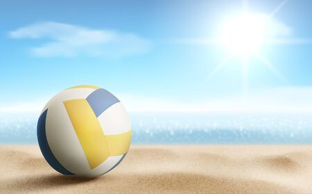 Volleyball ball on sandy beach background, sports accessory, equipment for playing game lying on sea coastline, summer championship or tournament competition Realistic 3d vector illustration, banner Illusztráció
