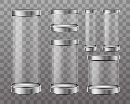 Empty cylinder capsule, clear showcase isolated on transparent background. Vector mockup of round boxes different sizes with steel caps, blank circle stand for exhibition in gallery, museum