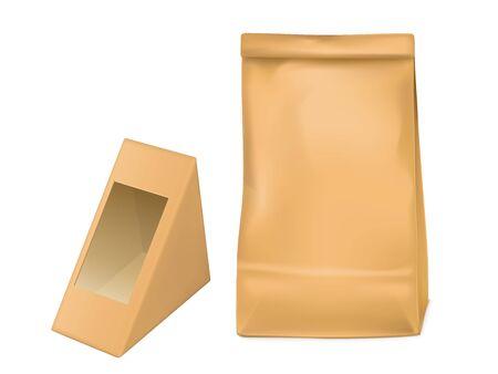 Worek papierowy i trójkątne pudełko do pakowania kanapek z przezroczystym okienkiem z folii plastikowej. Makieta wektorowa z realistycznym pustym brązowym kartonowym opakowaniem na lunch na wynos, przekąskę na białym tle