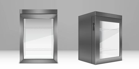 Empty mini refrigerator with transparent glass door. Vector gray fridge for fresh food or drink in supermarket or kitchen. Modern cooler with shelves and handle front and corner view