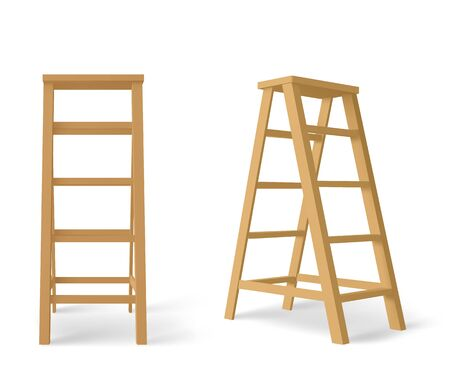Wooden ladder, tall stair with stand for tray isolated on white background. Vector realistic brown stepladder, household equipment for electrical or repair works front and angle view
