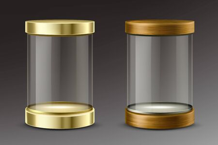 Empty cylinder capsule, clear showcase with golden and wooden caps. Vector mockup of round boxes with spotlights, blank circle stand, platform for exhibition in gallery, museum