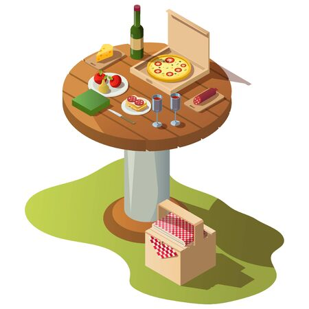 Isometric round wooden table for picnic with food, pizza box and basket on grass. Vector illustration of fresh meal, fruits, wine bottle with glasses for dinner or lunch outdoor