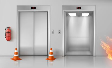Fire in office hallway with open and closed elevator doors, red extinguisher on wall and traffic cones. Vector realistic illustration of emergency in empty lobby interior with lift Illustration