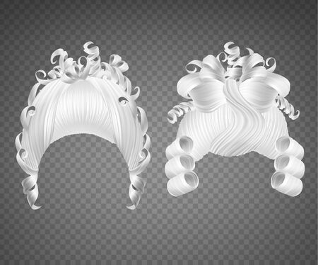 White curly girl wig, women rococo hairstyle. Vector set of realistic vintage princess hairstyle for wedding or carnival isolated on transparent background Standard-Bild - 138643984