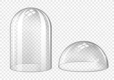 Glaskuppel, klare Kunststoffglocke auf transparentem Hintergrund isoliert. Vektorrealistisches Modell einer leeren Schutzabdeckung, einer halbkugelförmigen und zylinderförmigen Ausstellungsvitrine