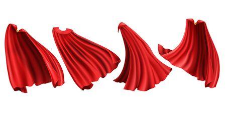 Czerwone peleryny ze złotym zapięciem. Jedwabne pochlebne peleryny z przodu, z tyłu i z boku w różnych pozycjach na białym tle, kostium superbohatera. Realistyczna ilustracja wektorowa 3d, clipart