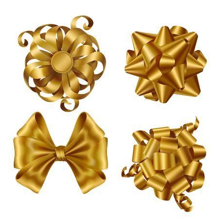 Gold ribbons and bows top view set. Collection of shiny yellow festive elements for wrapping present box, design gift card or invitation isolated on white background. Realistic 3d vector illustration 일러스트