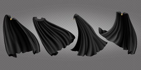 Black cloaks set. Silk flattering capes side, back and front view isolated on transparent background. Carnival, masquerade dress, vampire costume design, realistic 3d vector illustration, clip art