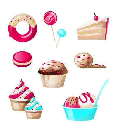 Confectionery and sweets candies set isolated on white background. Donut with sprinkles, lollipop, cake, macaroon, cupcake, biscuit cookies, ice cream balls with topping. Cartoon vector illustration
