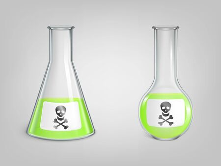 Flasks with poison and skull with bones danger sign on label set. Magic potion, chemical green toxic liquid in lab spherical and conical beakers with Jolly Roger icon. Realistic 3d vector illustration 矢量图像