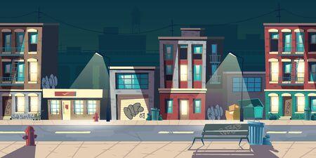 Ghettostraat 's nachts, sloppenwijken, oude gebouwen met glimmende ramen en graffiti op muren. Vervallen woningen staan langs de weg met lampen, brandkranen, vuilnisbakken cartoon vectorillustratie