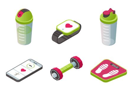 Isometric sport wearable accessories icons set, shaker, smart watch, smartphone with sports application, dumbbell, scales equipment isolated on white background, 3d vector illustration, icon, clip art Ilustrace