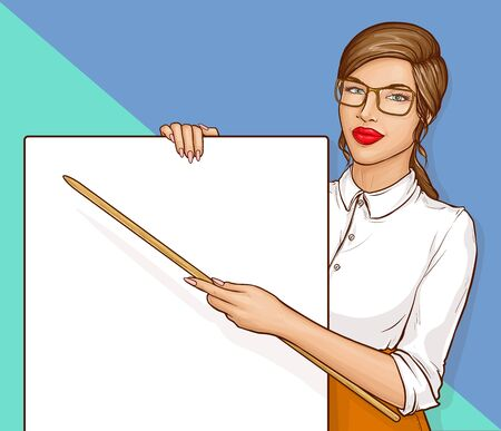 Pop art business woman or sexy teacher with long brown hair and red lips wearing glasses and white shirt holding pointer and blank banner on blue background, retro comic book vector illustration