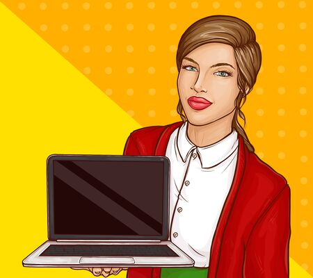 Pop art business woman or teacher with brown hair and red lips wearing white shirt and blazer holding laptop with black blank screen on halftone yellow background. retro comic book vector illustration