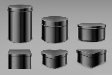 Black tin boxes set, blank jars for tea, coffee, spices or candies. Bottles mockup, different shapes cans for packaging dry products biscuits, candies isolated on grey background, Realistic 3d vector Ilustrace