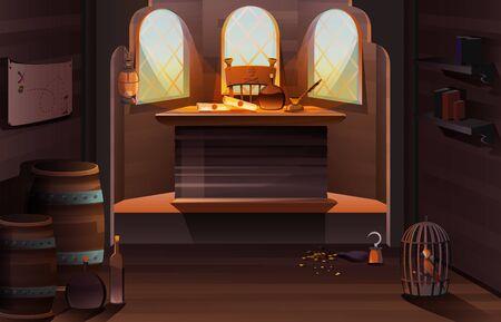 Piratenkapitänschiffkabine aus Holz mit Flasche, Schriftrollen und Federstift auf dem Schreibtisch, Schatzkarte an der Wand, Goldmünzen, Käfig mit Papagei und Handhakenständer auf dem Boden Cartoon-Vektor-Illustration Vektorgrafik