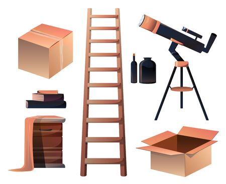 Set of attic equipment, telescope, ladder, cardboard boxes, glass bottles, pile of books and nightstand covered with old cloth isolated on white background. Cartoon vector illustration, icon, clip art