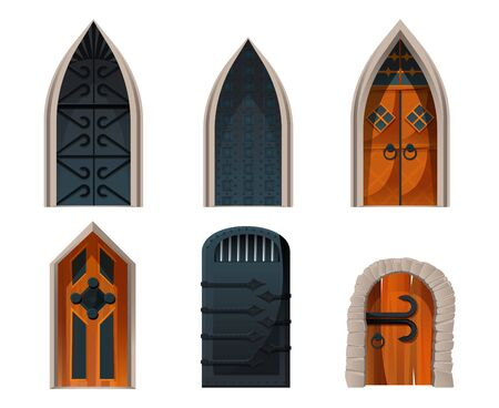 Doors set, wooden and metal medieval or fairytale arched entries for palace, castle or ancient prison exterior game design elements with forged decoration and ring knobs, Cartoon vector illustration