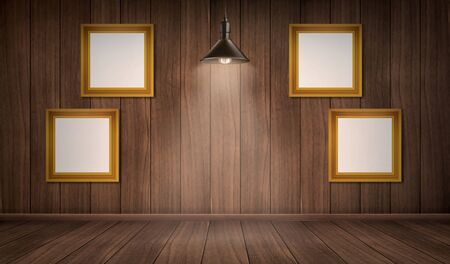 Empty wooden room with blank picture frames and ceiling lamp. Vector realistic interior with floor and wall of natural dark wood and hanging light bulb. Vintage design of house or gallery studio Ilustrace