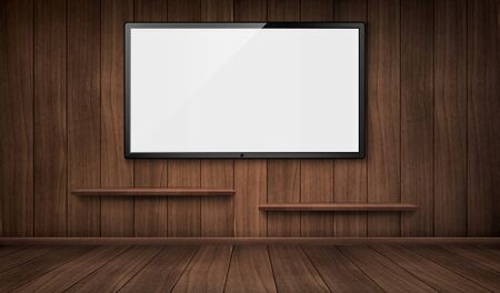 Empty wooden room with wide tv screen and bookshelves. Vector realistic blank lcd monitor panel on wooden wall. Interior design of house or studio indoor