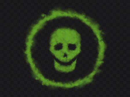 Green smoke skull sign in circle. Bad smell clouds of chemical toxic steam or stench gases in shape of human skeleton face. Warning danger symbol isolated on transparent background