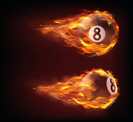 Flying black billiard eight ball in fire isolated on black background. Vector realistic pool or snooker ball with number 8 in flame with sparks. Template for banner or poster of sport tournament