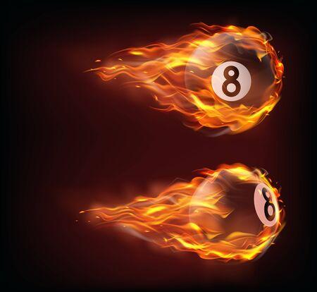 Volar bola de billar negro ocho en fuego aislado sobre fondo negro. Vector realista bola de billar o billar con el número 8 en llamas con chispas. Plantilla para pancarta o póster de torneo deportivo