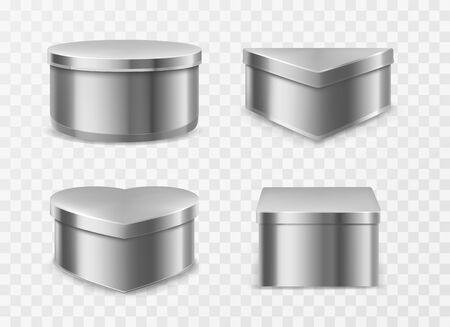 Metal tin boxes for coffee, tea or candies. Vector realistic mockup of round, square, triangle and heart shape cans for packaging dry products, biscuits and sweets isolated on transparent background