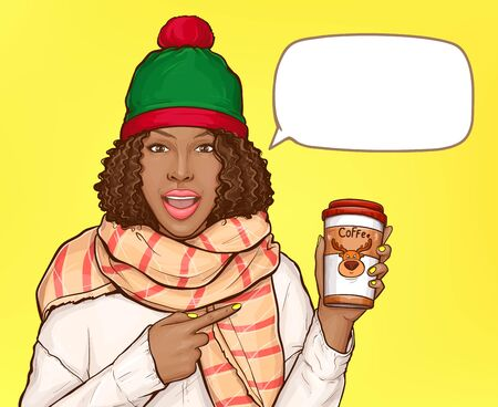 African american woman in warm clothes with paper cup of coffee. Vector pop art black girl with afro hair, winter hat and scarf pointing by finger to hot drink with cartoon deer 矢量图像