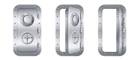 Puerta metálica con ventana de ojo de buey en submarino cerrada y abierta. Búnker realista de vector o entrada de acero cerrada de laboratorio con rueda de bloqueo de válvula giratoria aislada sobre fondo blanco