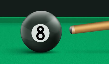 Billiard eight ball and cue on green cloth table. Vector realistic illustration of pool game with black snooker ball with number 8. Template for banner or poster of sport tournament
