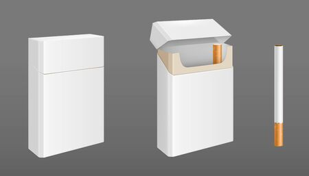 Open and closed pack of cigarettes with golden foil. Vector realistic mockup of white paper package with last cigarette and single one isolated on gray background Ilustrace
