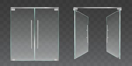 Clear glass doors for office or shop isolated on transparent background. Vector realistic set of closed and open double doors with metal frame and handles. Modern store entrance