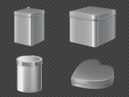 Metal tin boxes for tea, sugar or candies. Vector realistic mockup of round, square and heart shape cans closed by lid for packaging dry products, coffee and sweets isolated on transparent background