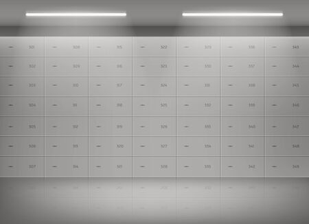 Deposit safe boxes in bank vault. Security lockers with metal door with number and keyhole in empty storage room. Vector illustration of depository cells for protection savings, money, gold