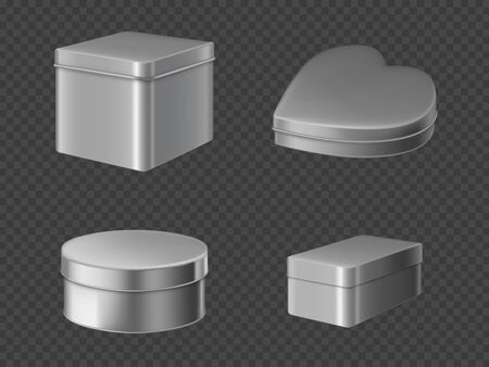 Metal tin boxes for tea, coffee or candies. Vector realistic mockup of round, square and heart shape cans for packaging dry products, biscuits and sweets isolated on transparent background