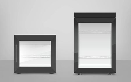 Empty mini refrigerator with glass door. Vector black different size fridges for drink or fresh food in supermarket or kitchen. Modern cooler with metal handle and shelves front view 矢量图像
