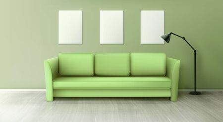Interior with green sofa, lamp and blank white posters on wall in living room. Vector realistic couch for home, office or studio on wooden floor. Comfortable lounge for resting or waiting 矢量图像