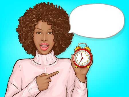 African american woman pointing by finger to red alarm clock. Black girl with afro hair and open mouth show time. Vector pop art illustration of dark skin lady with speech bubble
