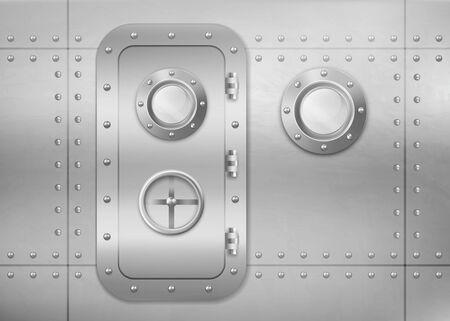 Metalltür und Bullauge an der Wand in U-Booten, Schiffen oder Raumfahrzeugen. Vektorrealistischer Innenraum des Bunkers oder Labors mit Fenster und geschlossenem Edelstahleingang mit Drehventil-Sperrrad Vektorgrafik