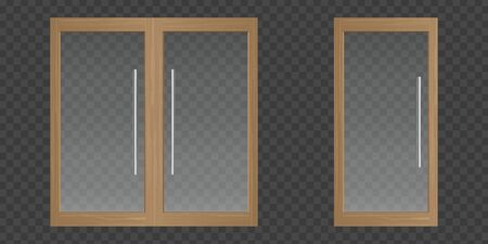 Clear glass doors with wooden frame for office, house or shop isolated on transparent background. Vector realistic set of single and double doors with metal handles. Modern store entrance