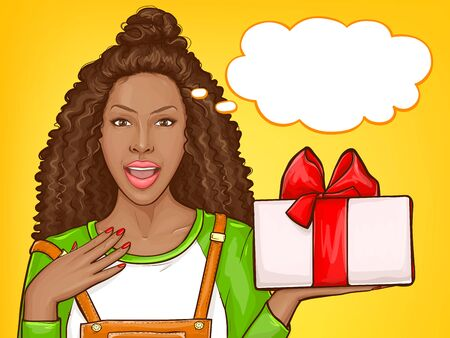 African american woman with gratitude receiving gift for holiday. Surprised black girl with afro hair hold giftbox with red bow. Vector pop art illustration of dark skin lady with speech bubble